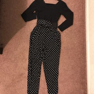 Vintage polka dot big belt jumpsuit w pockets